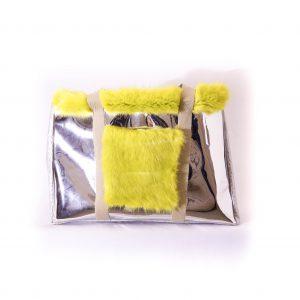 sac argenté et jaune
