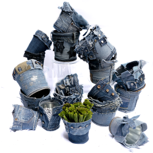 set de pots en jeans